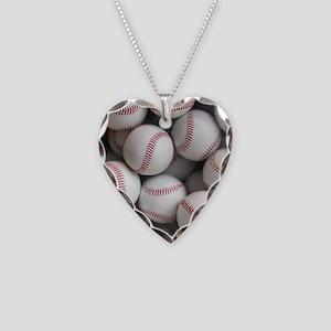 Baseball Balls Necklace Heart Charm