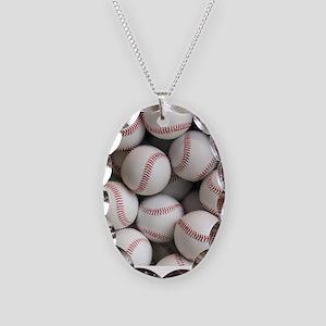Baseball Balls Necklace Oval Charm