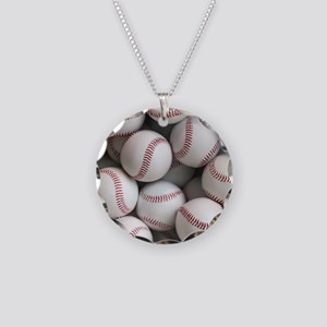 Baseball Balls Necklace Circle Charm
