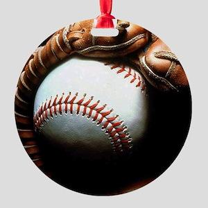 Baseball Ball And Mitt Round Ornament