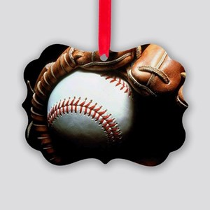 Baseball Ball And Mitt Picture Ornament
