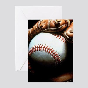 Baseball Ball And Mitt Greeting Cards