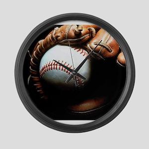 Baseball Ball And Mitt Large Wall Clock