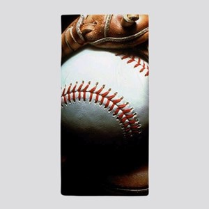 Baseball Ball And Mitt Beach Towel