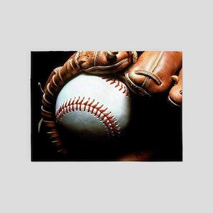 Baseball Ball And Mitt 5'x7'Area Rug