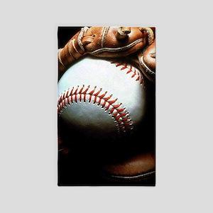 Baseball Ball And Mitt Area Rug