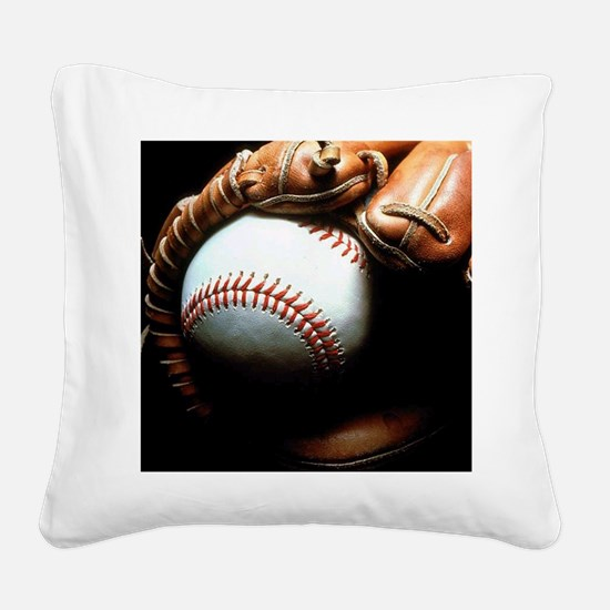 Baseball Ball And Mitt Square Canvas Pillow