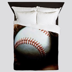 Baseball Ball And Mitt Queen Duvet