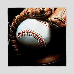Baseball Ball And Mitt Queen Duvet