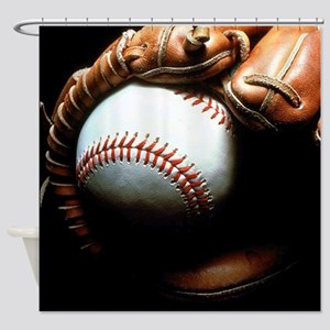 Baseball Ball And Mitt Shower Curtain