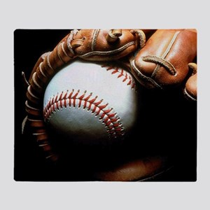 Baseball Ball And Mitt Throw Blanket