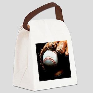 Baseball Ball And Mitt Canvas Lunch Bag