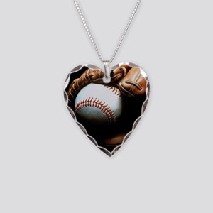 Baseball Ball And Mitt Necklace Heart Charm