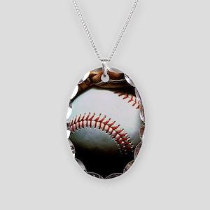 Baseball Ball And Mitt Necklace Oval Charm