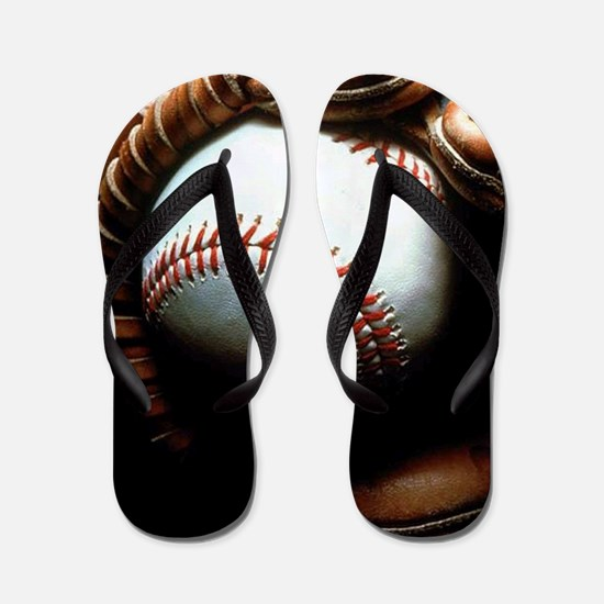 Baseball Ball And Mitt Flip Flops