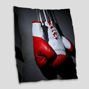 Boxing Gloves Burlap Throw Pillow