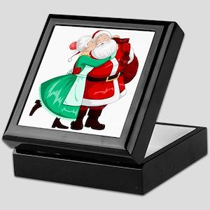 Mrs Claus Kisses Santa On Cheek And H Keepsake Box