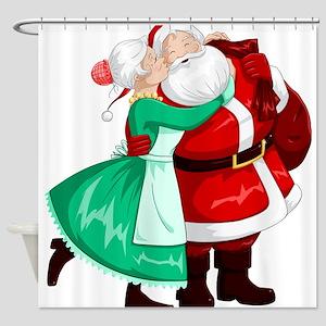 Mrs Claus Kisses Santa On Cheek And Shower Curtain