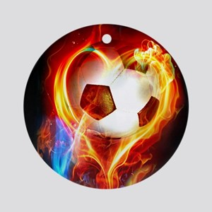 Flaming Football Ball Round Ornament