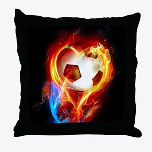 Flaming Football Ball Throw Pillow