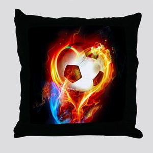Flaming Football Ball Throw Pillow