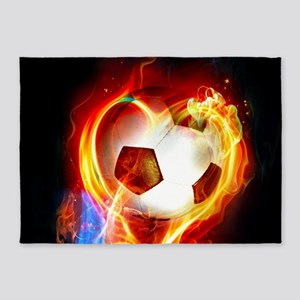 Flaming Football Ball 5'x7'Area Rug