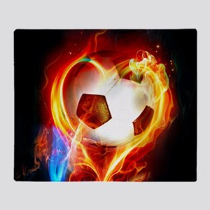 Flaming Football Ball Throw Blanket