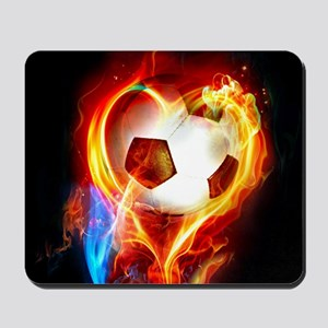 Flaming Football Ball Mousepad