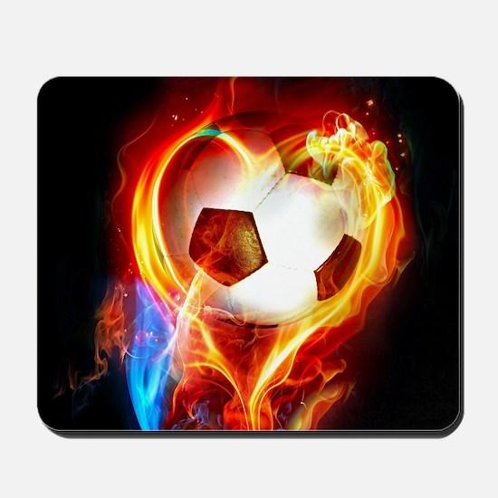 Flaming Football Ball Mousepad