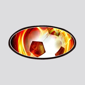 Flaming Football Ball Patch