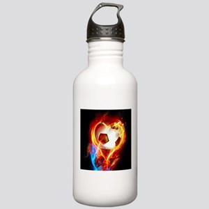Flaming Football Ball Sports Water Bottle