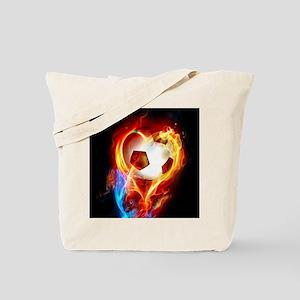 Flaming Football Ball Tote Bag