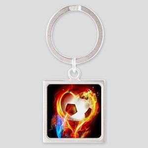 Flaming Football Ball Keychains