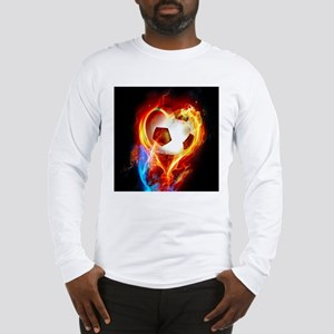 Flaming Football Ball Long Sleeve T-Shirt