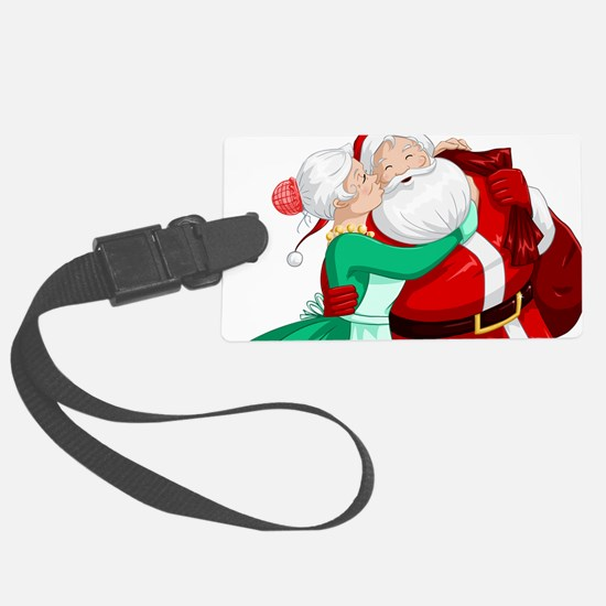Mrs Claus Kisses Santa On Cheek Luggage Tag