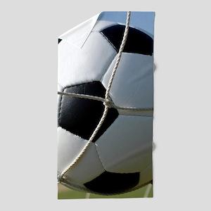 Football Ball In Net Beach Towel