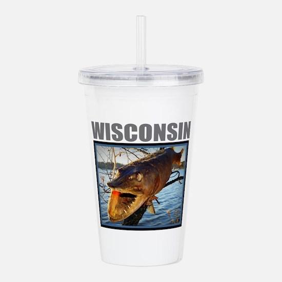 Wisconsin - Fish in Tr Acrylic Double-wall Tumbler