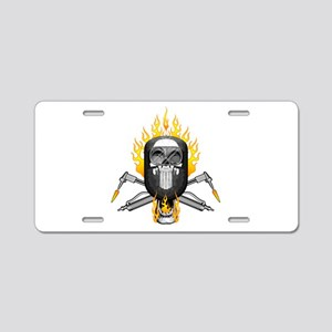Flaming Welder Skull Aluminum License Plate