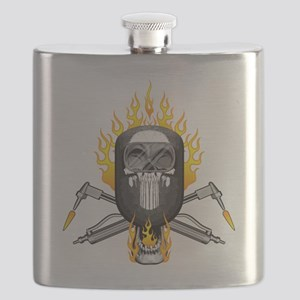 Flaming Welder Skull Flask