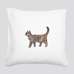 Tortoiseshell Cat Square Canvas Pillow