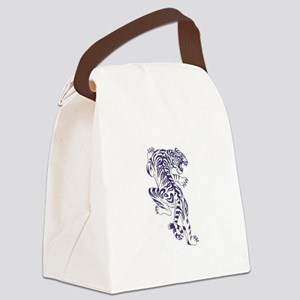 White Tiger Climbing Canvas Lunch Bag