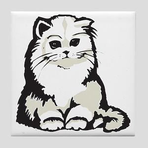 Cute White Persian Kitten Tile Coaster