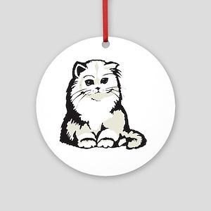 Cute White Persian Kitten Ornament (Round)