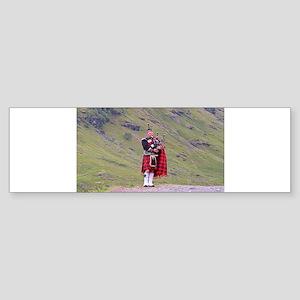 Lone Scottish bagpiper, Highlands, Bumper Sticker