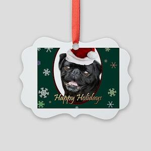 Christmas Pug Dog Picture Ornament