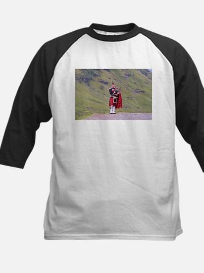 Lone Scottish bagpiper, Highlands, Baseball Jersey