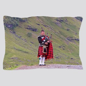 Lone Scottish bagpiper, Highlands, Sco Pillow Case
