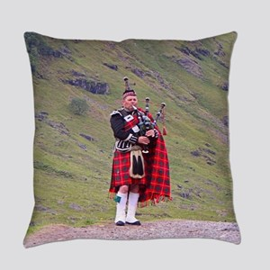 Lone Scottish bagpiper, Highlands, Everyday Pillow