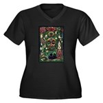 Starry Wisdom Women's Plus Size V-Neck Dark T-Shir