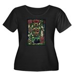 Starry Wisdom Women's Plus Size Scoop Neck Dark T-